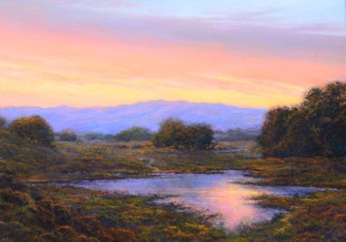 Oil on Board Bradbury Dam Sunset by Dirk Foslien