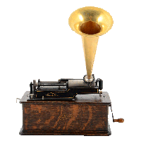 American Edison Oak Phonograph With Brass Horn