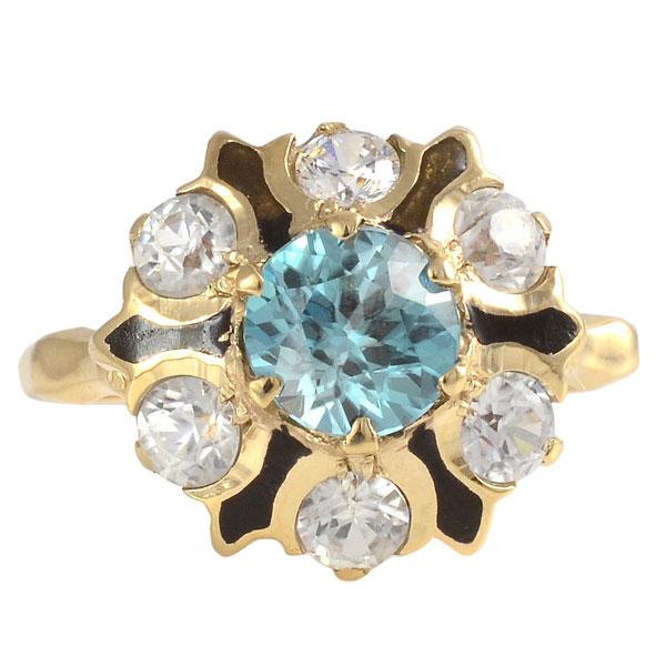 Blue Zircon and White Zircon Ring