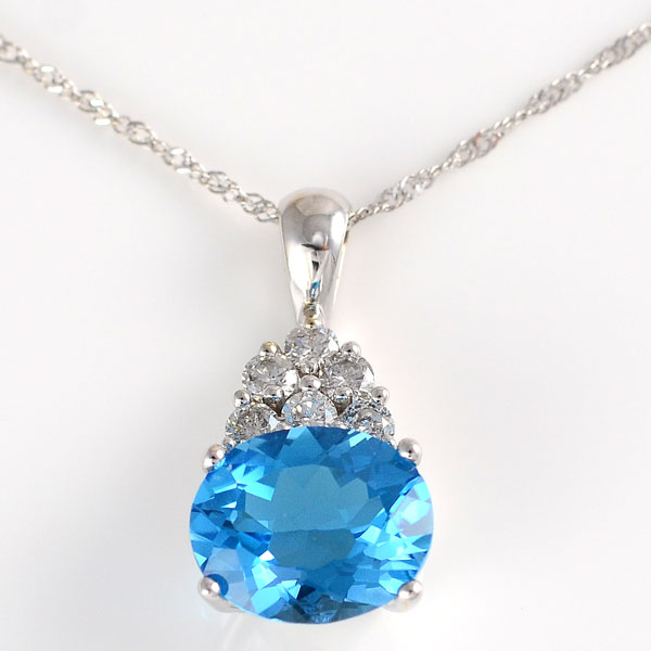 4.82 Carat Blue Topaz Pendant with Diamonds
