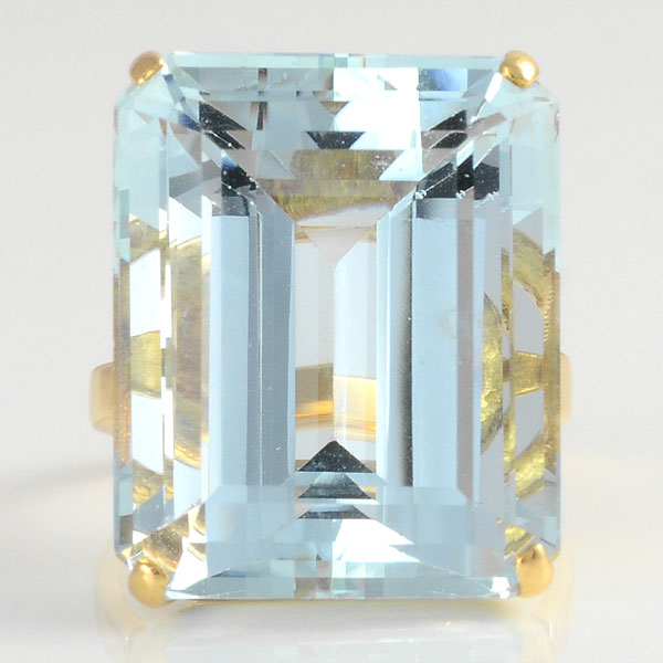 24.0 Carat Emerald Cut Aquamarine Ring
