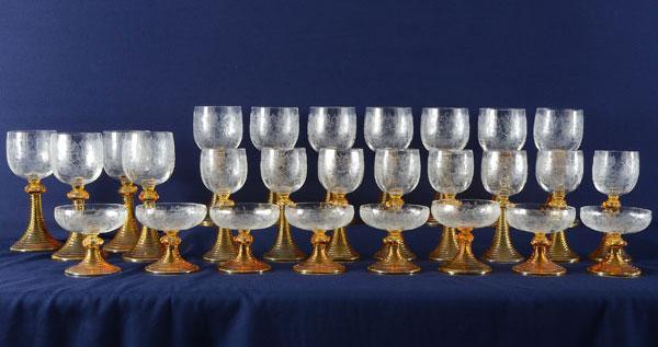 American Bohemian Art Glass Stemware