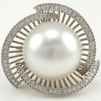 15.90mm Natural South Seas Pearl Ring With Accent Diamonds