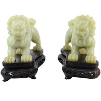 Chinese Pair of Hand Carved Jade Foo Dogs