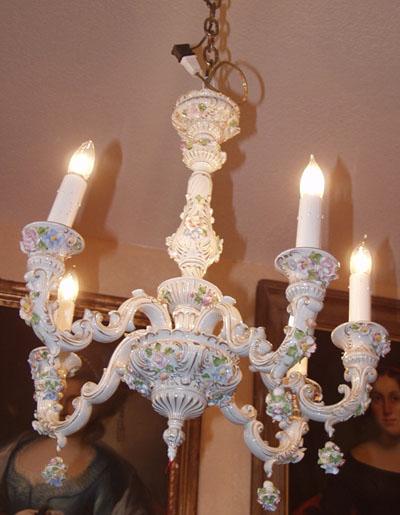 Italian Porcelain Chandelier Capodimonte